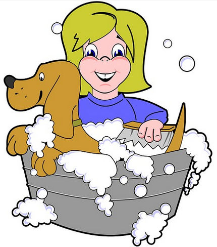 picture of girl shampooing her dog